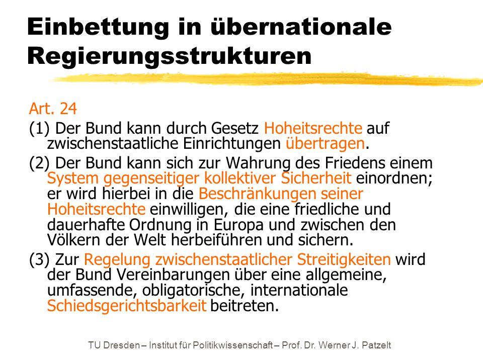 Einbettung in übernationale Regierungsstrukturen