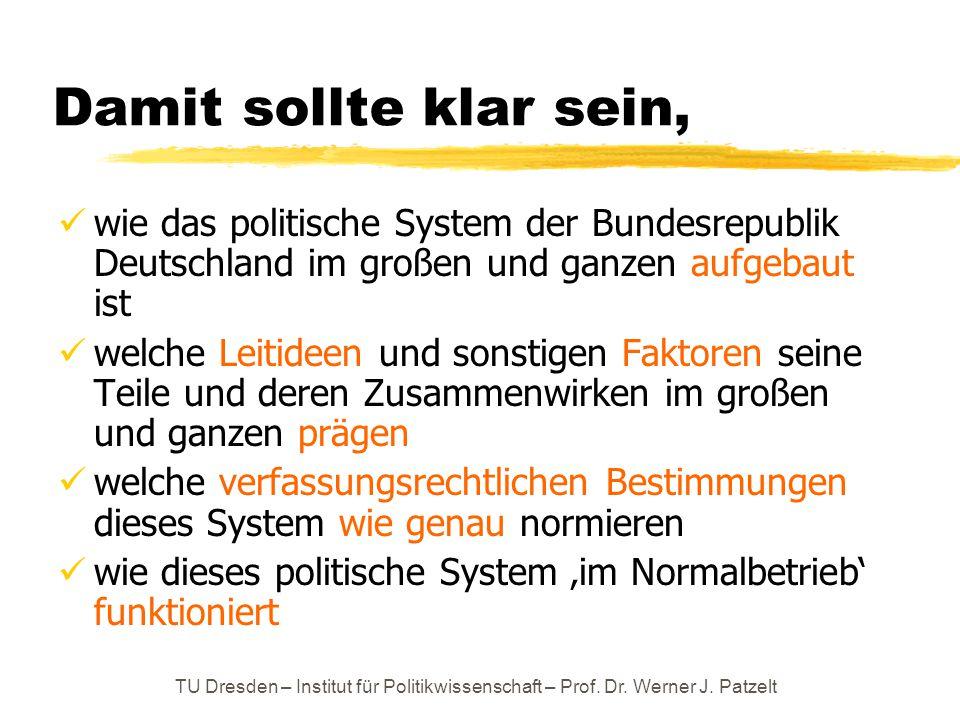 Damit sollte klar sein, wie das politische System der Bundesrepublik Deutschland im großen und ganzen aufgebaut ist.