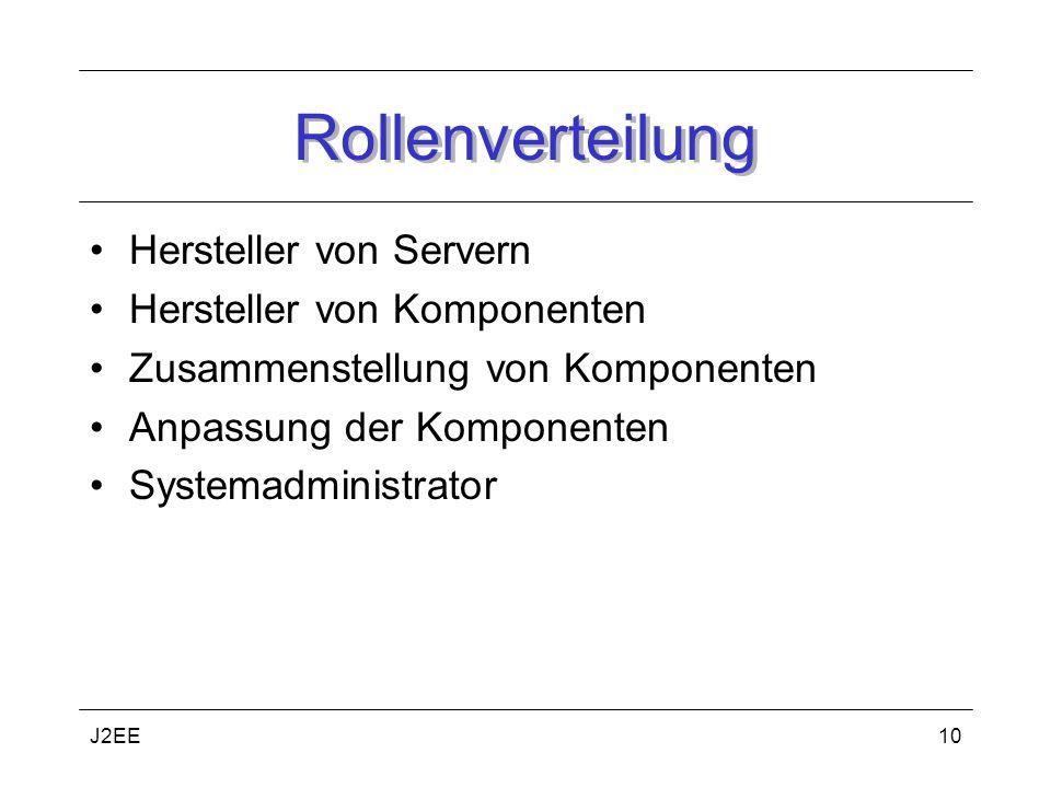 Rollenverteilung Hersteller von Servern Hersteller von Komponenten