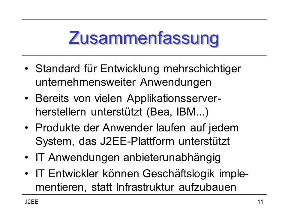Zusammenfassung Standard für Entwicklung mehrschichtiger unternehmensweiter Anwendungen.