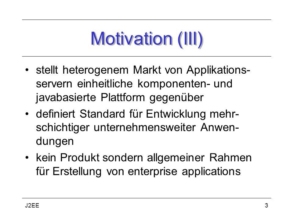 Motivation (III) stellt heterogenem Markt von Applikations-servern einheitliche komponenten- und javabasierte Plattform gegenüber.