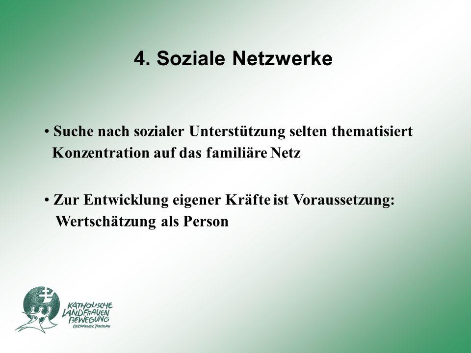 4. Soziale Netzwerke Suche nach sozialer Unterstützung selten thematisiert. Konzentration auf das familiäre Netz.