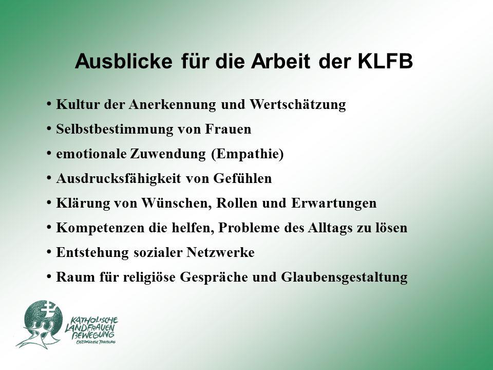 Ausblicke für die Arbeit der KLFB