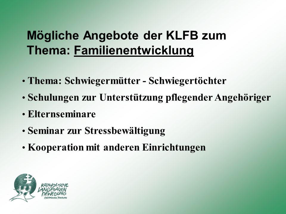 Mögliche Angebote der KLFB zum Thema: Familienentwicklung