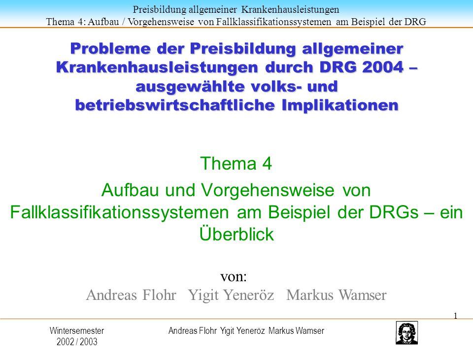 Probleme der Preisbildung allgemeiner Krankenhausleistungen durch DRG 2004 – ausgewählte volks- und betriebswirtschaftliche Implikationen