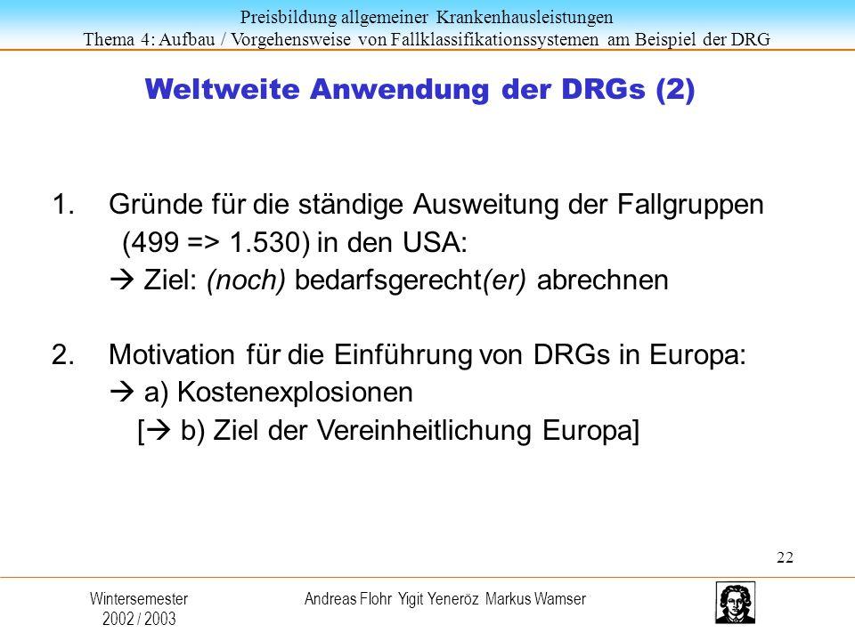 Weltweite Anwendung der DRGs (2)