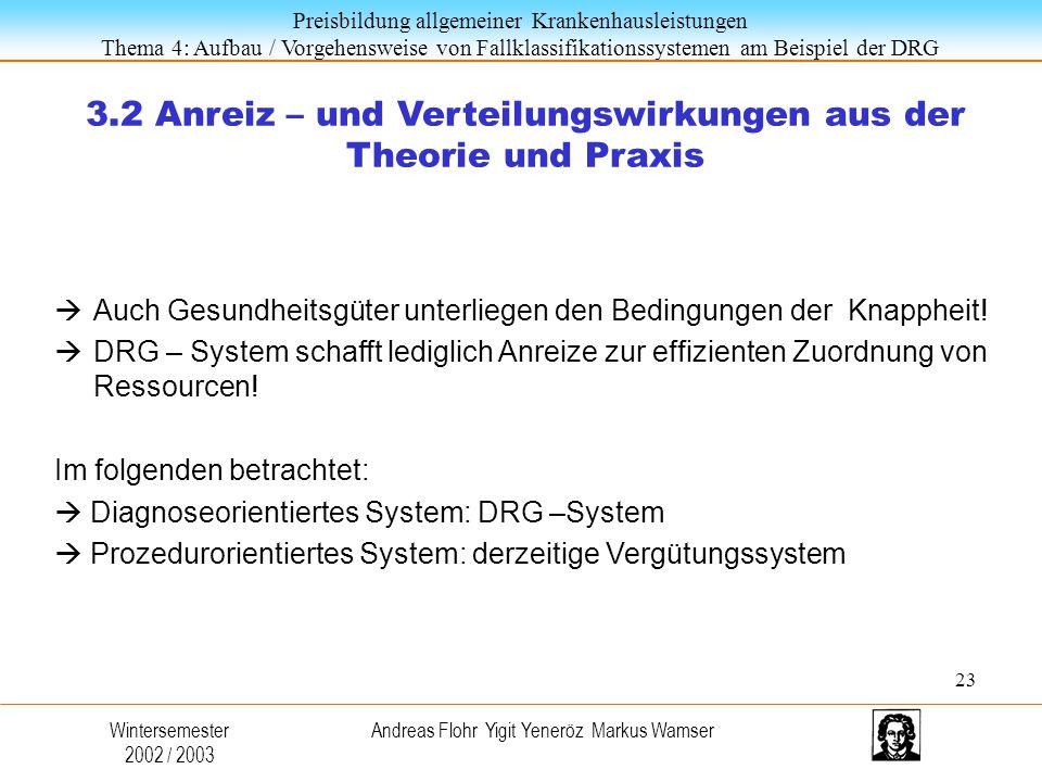 3.2 Anreiz – und Verteilungswirkungen aus der Theorie und Praxis