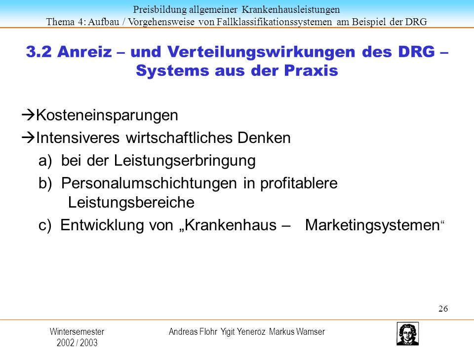 3.2 Anreiz – und Verteilungswirkungen des DRG – Systems aus der Praxis