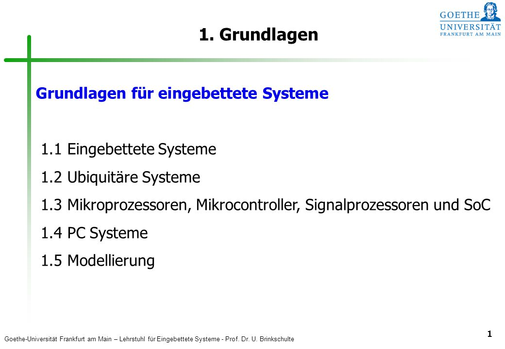 1. Grundlagen Grundlagen für eingebettete Systeme