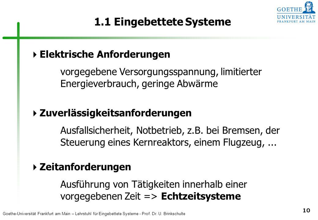 1.1 Eingebettete Systeme Elektrische Anforderungen
