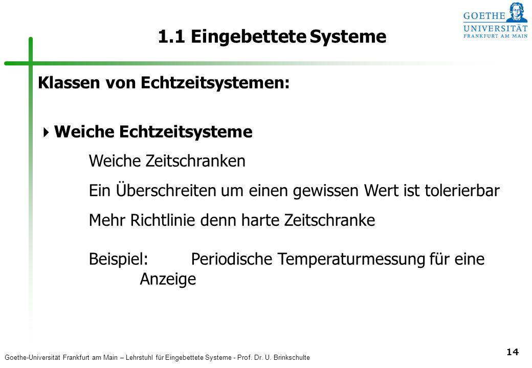 1.1 Eingebettete Systeme Klassen von Echtzeitsystemen: