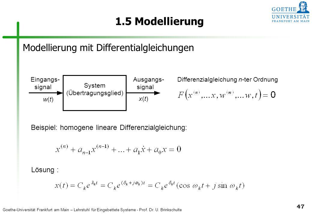 1.5 Modellierung Modellierung mit Differentialgleichungen