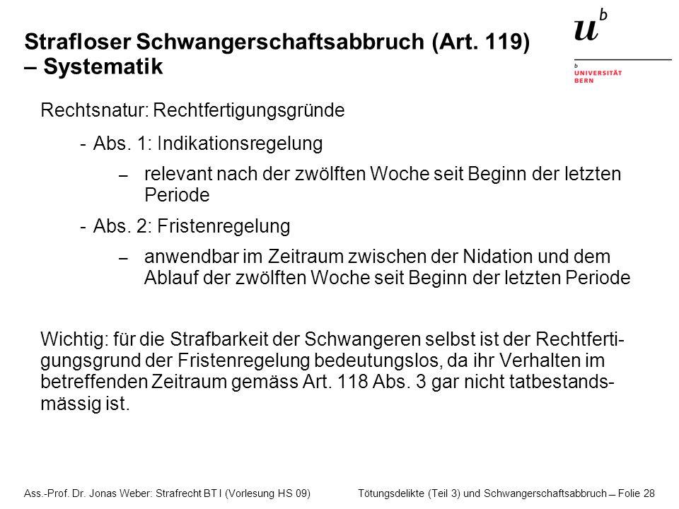 Strafloser Schwangerschaftsabbruch (Art. 119) – Systematik