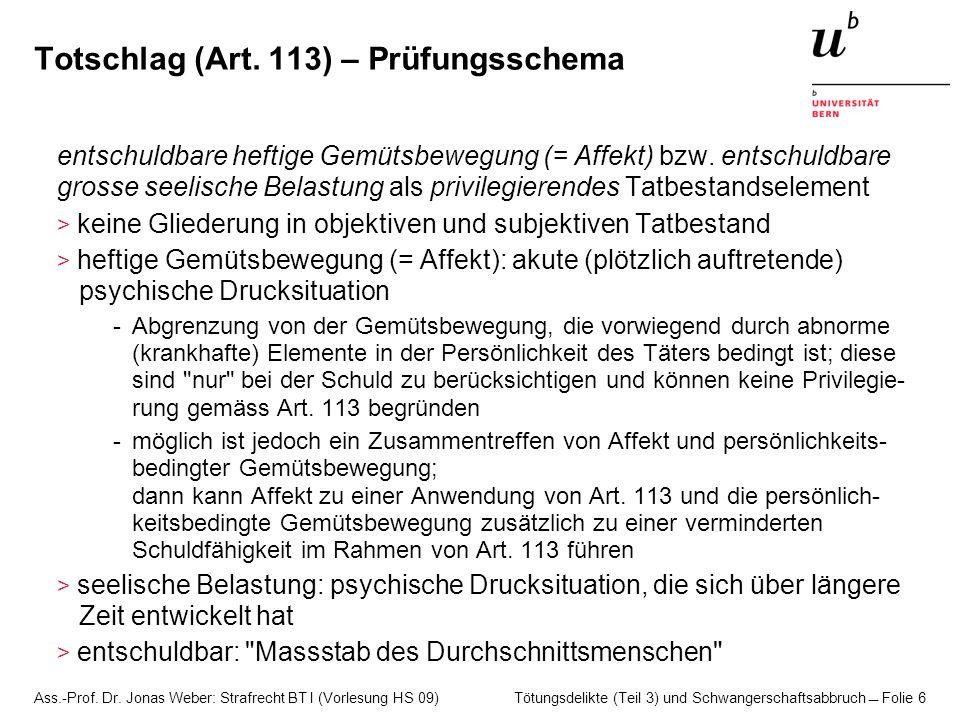 Totschlag (Art. 113) – Prüfungsschema