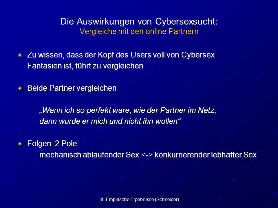Die Auswirkungen von Cybersexsucht: Vergleiche mit den online Partnern