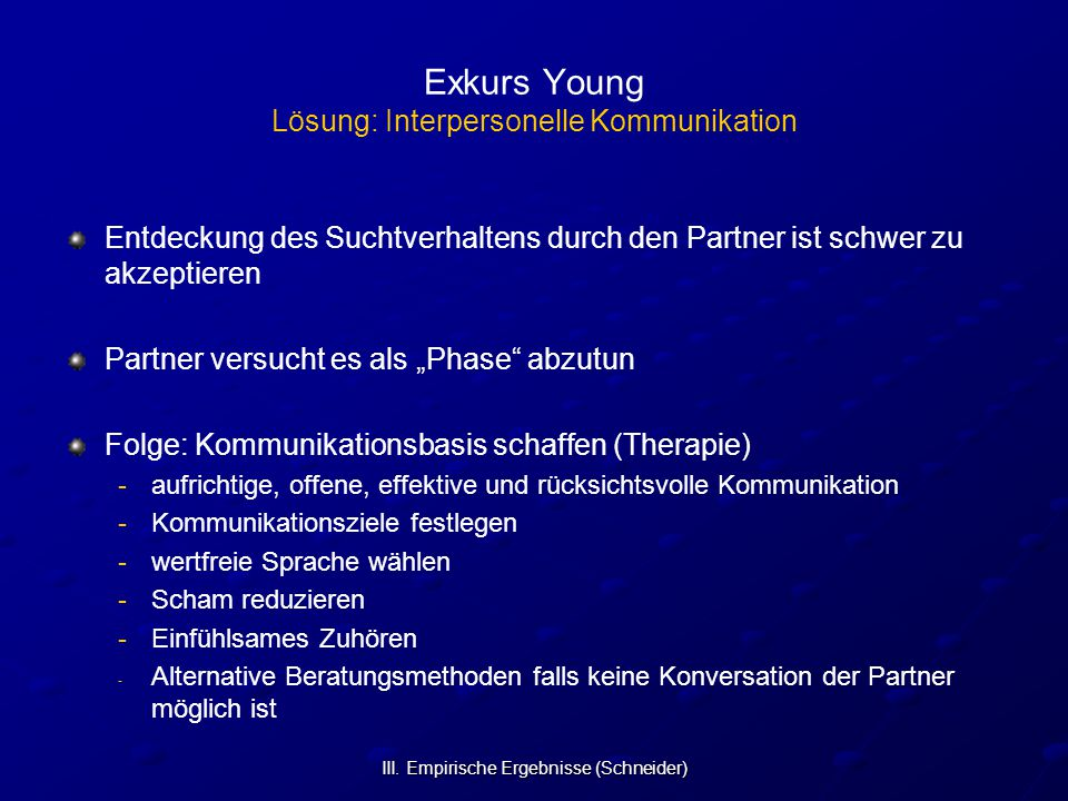 Exkurs Young Lösung: Interpersonelle Kommunikation