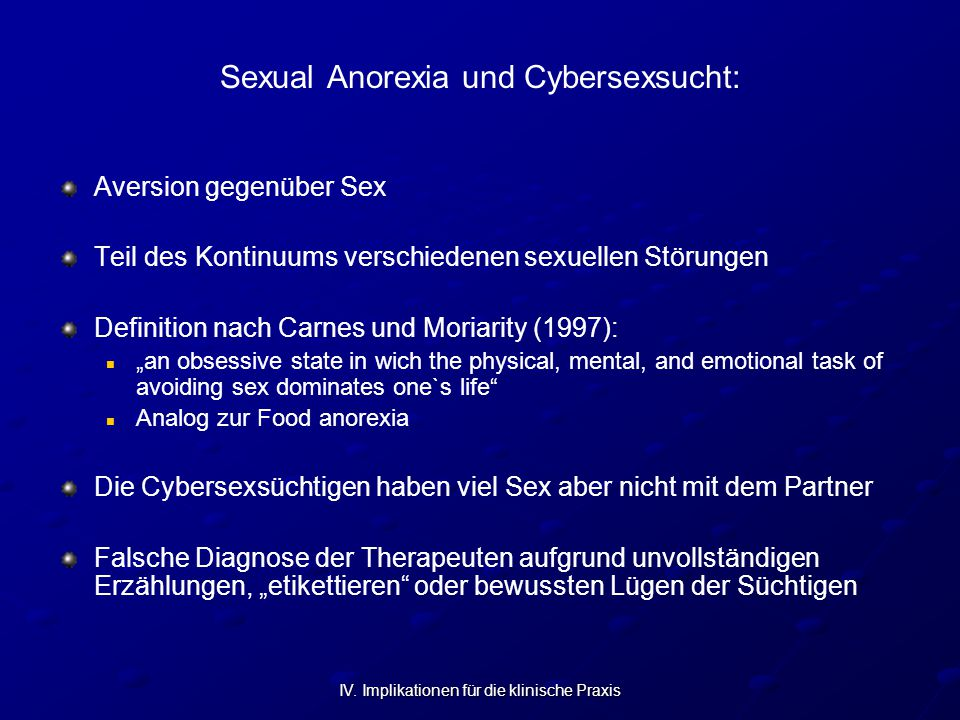 Sexual Anorexia und Cybersexsucht: