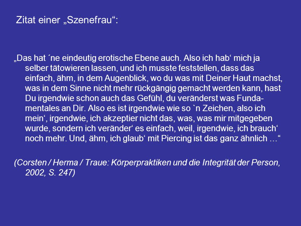 """Zitat einer """"Szenefrau :"""