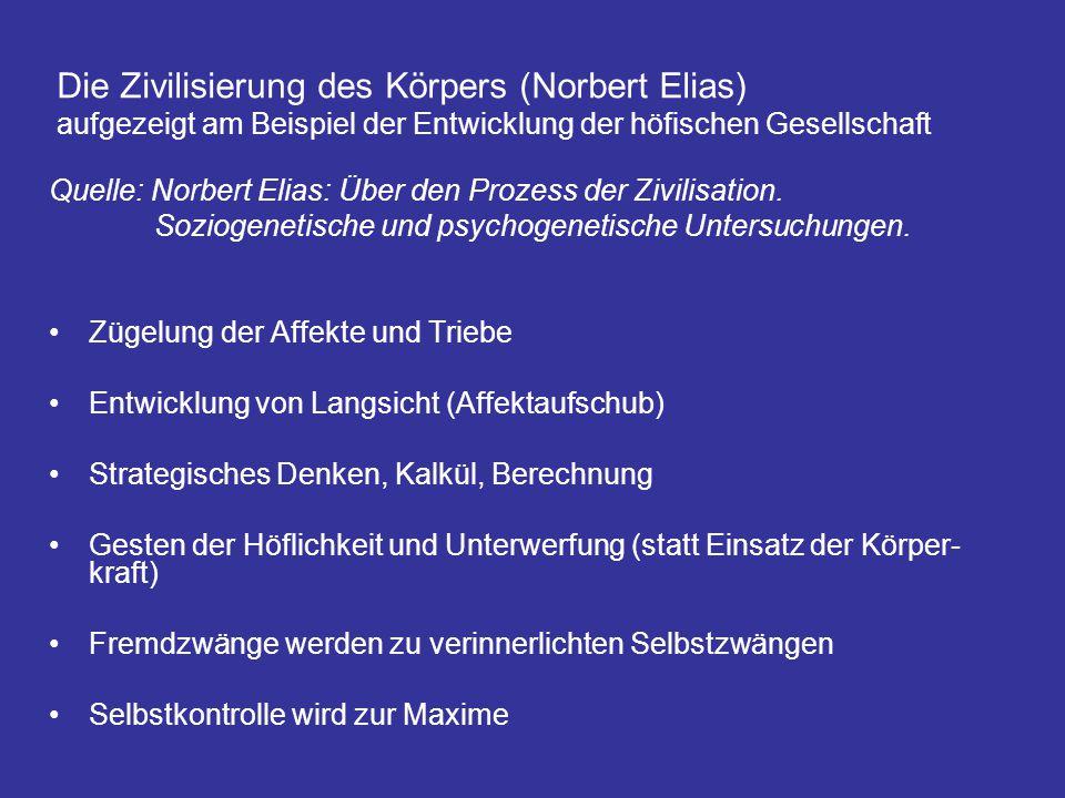 Die Zivilisierung des Körpers (Norbert Elias) aufgezeigt am Beispiel der Entwicklung der höfischen Gesellschaft