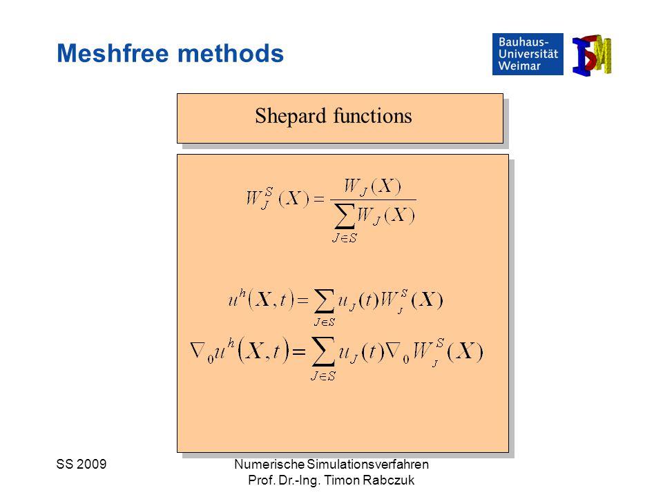 Meshfree methods Shepard functions SS 2009