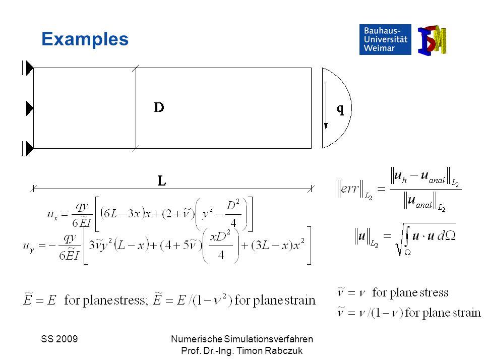 Examples SS 2009 Numerische Simulationsverfahren