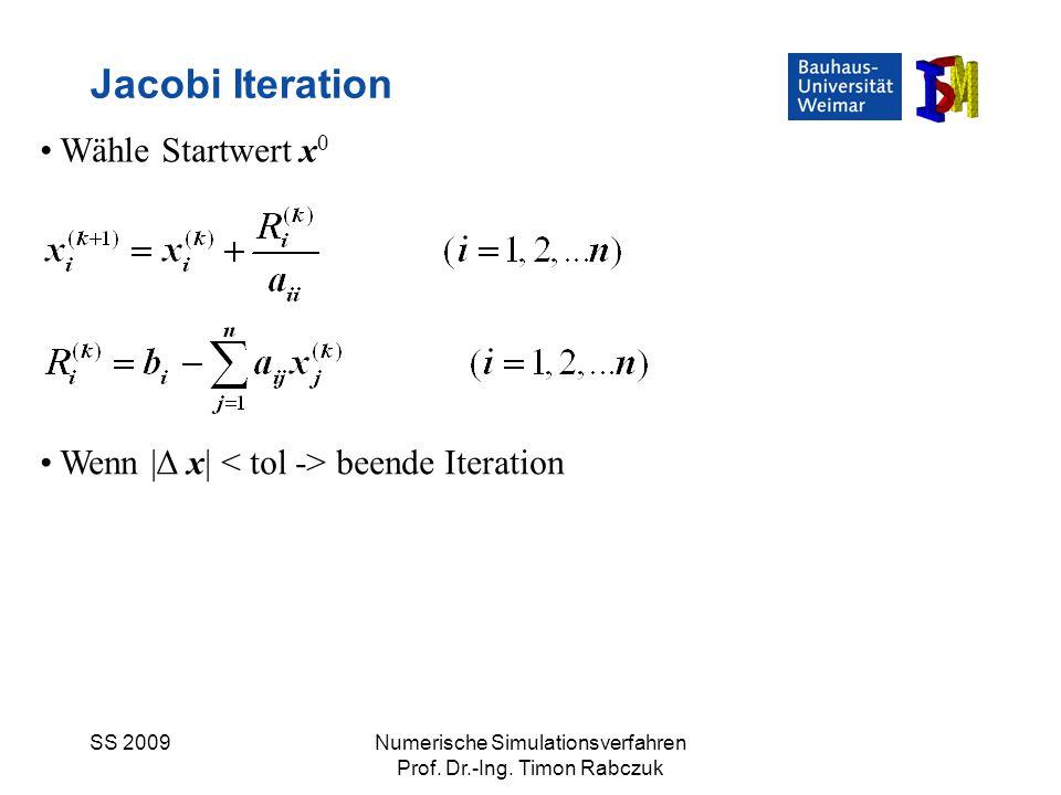 Jacobi Iteration Wähle Startwert x0