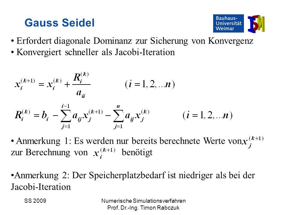 Gauss Seidel Erfordert diagonale Dominanz zur Sicherung von Konvergenz