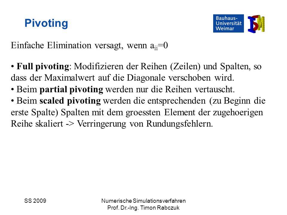 Pivoting Einfache Elimination versagt, wenn aii=0