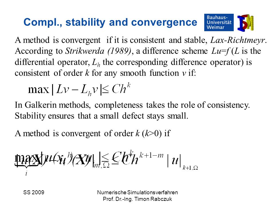 Compl., stability and convergence