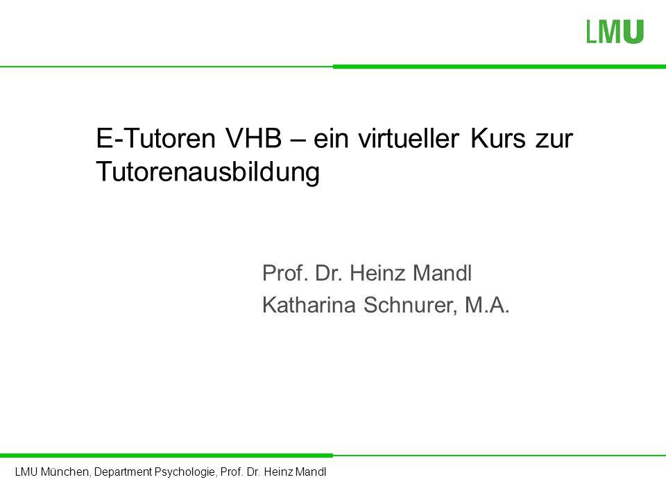 E-Tutoren VHB – ein virtueller Kurs zur Tutorenausbildung
