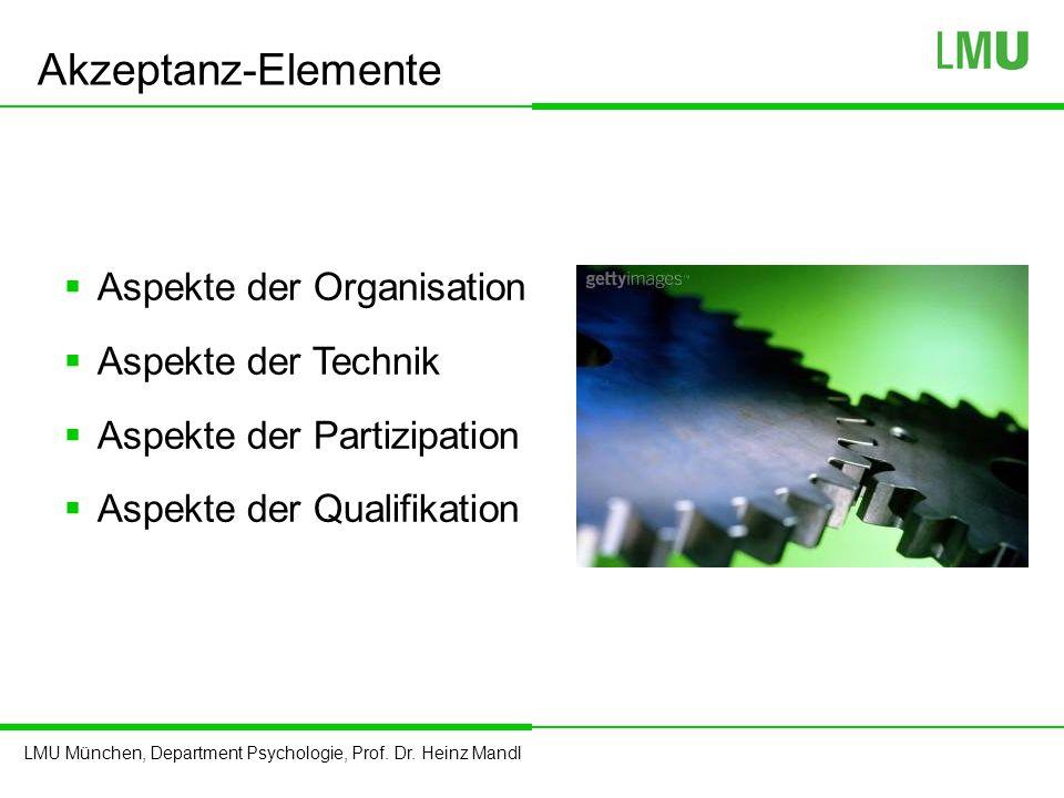 Akzeptanz-Elemente Aspekte der Organisation Aspekte der Technik