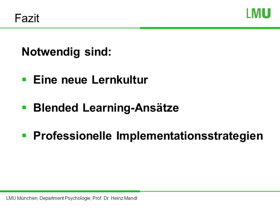 Fazit Notwendig sind: Eine neue Lernkultur. Blended Learning-Ansätze.