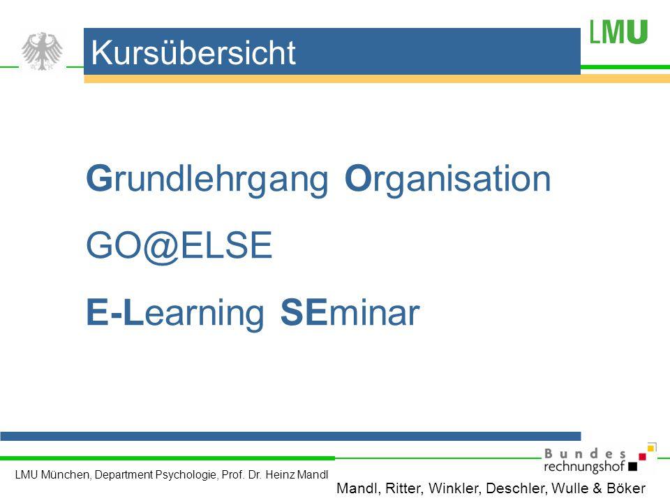 Grundlehrgang Organisation GO@ELSE E-Learning SEminar