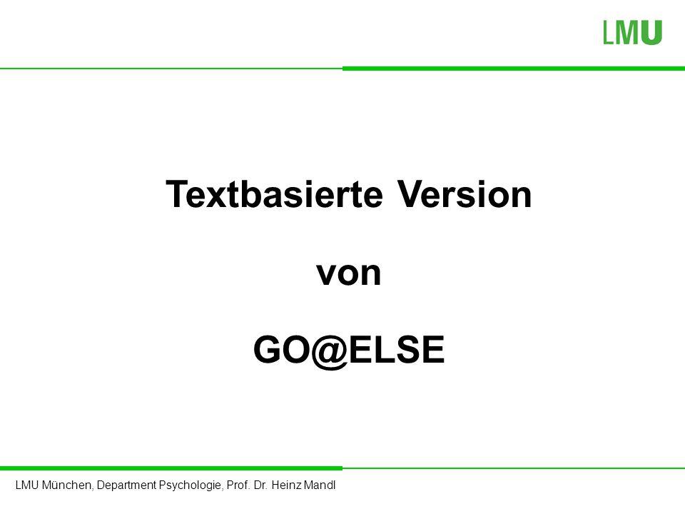 Textbasierte Version von GO@ELSE