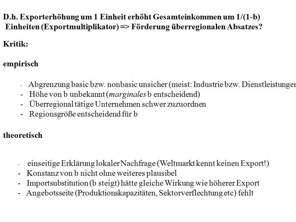 D.h. Exporterhöhung um 1 Einheit erhöht Gesamteinkommen um 1/(1-b)