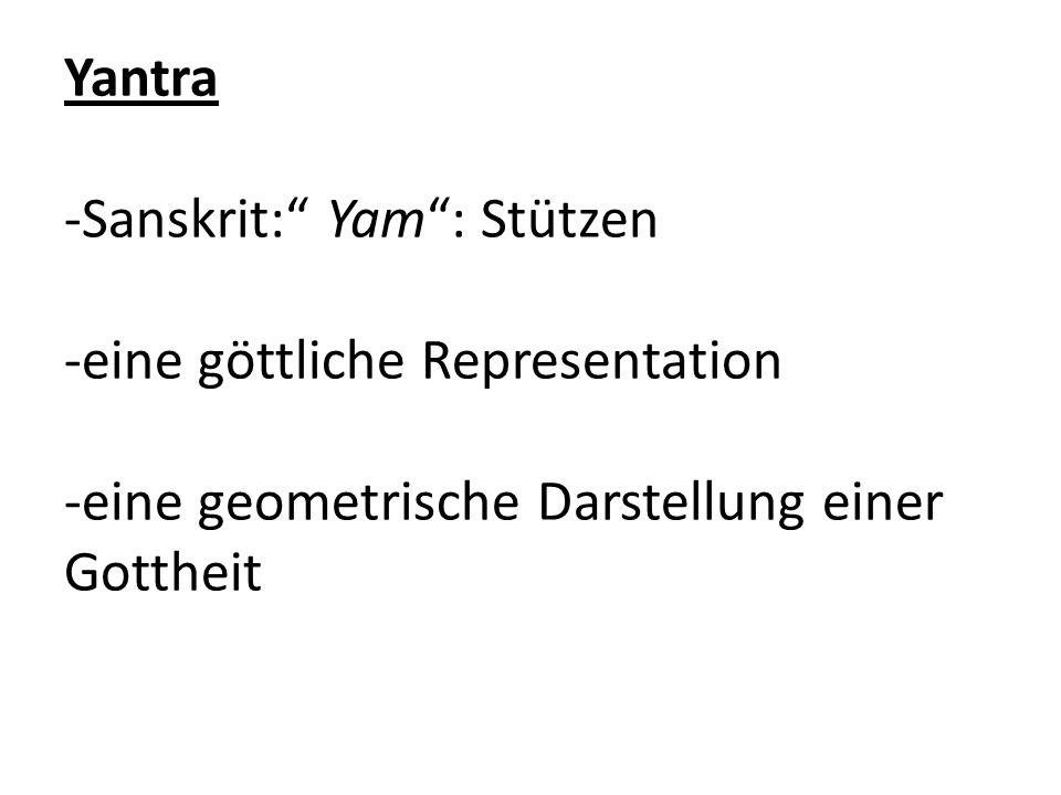 Yantra -Sanskrit: Yam : Stützen -eine göttliche Representation -eine geometrische Darstellung einer Gottheit