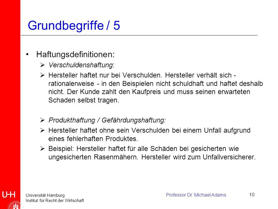 Grundbegriffe / 5 Haftungsdefinitionen: Verschuldenshaftung: