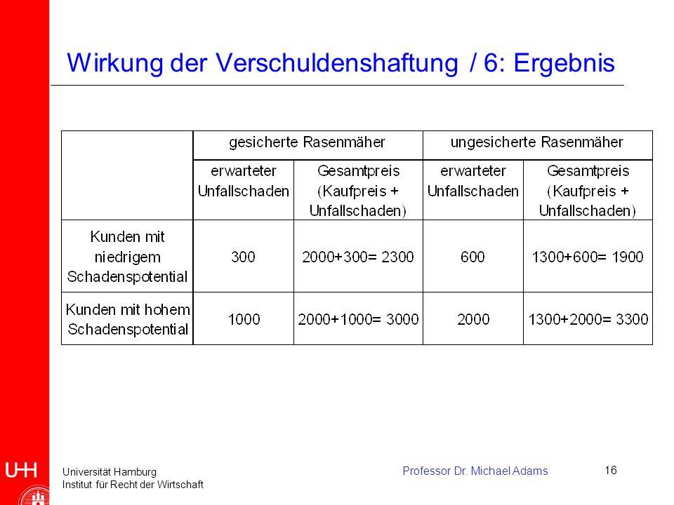 Wirkung der Verschuldenshaftung / 6: Ergebnis
