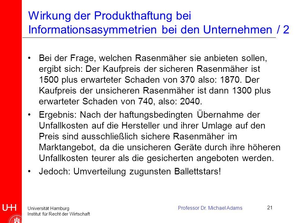 Wirkung der Produkthaftung bei Informationsasymmetrien bei den Unternehmen / 2
