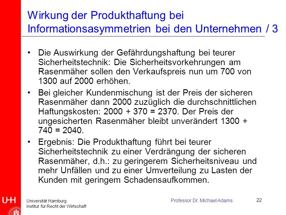 Wirkung der Produkthaftung bei Informationsasymmetrien bei den Unternehmen / 3