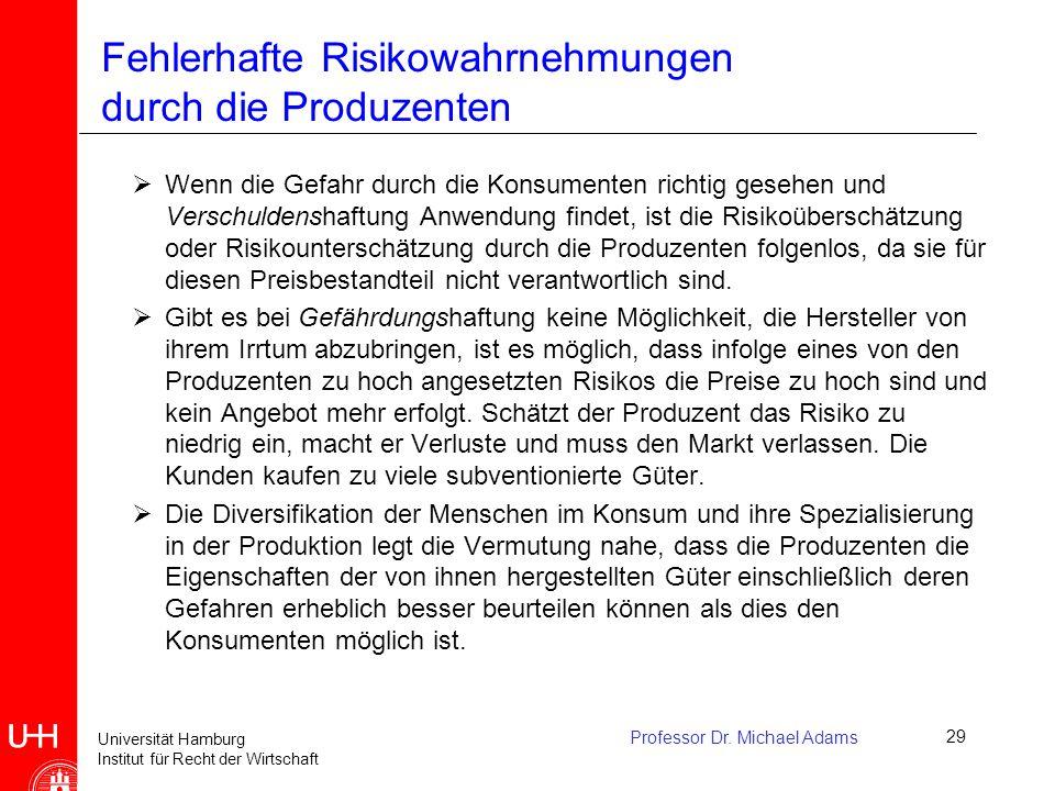 Fehlerhafte Risikowahrnehmungen durch die Produzenten