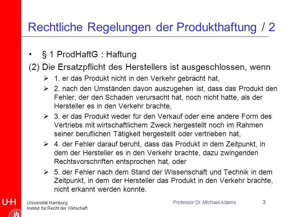 Rechtliche Regelungen der Produkthaftung / 2