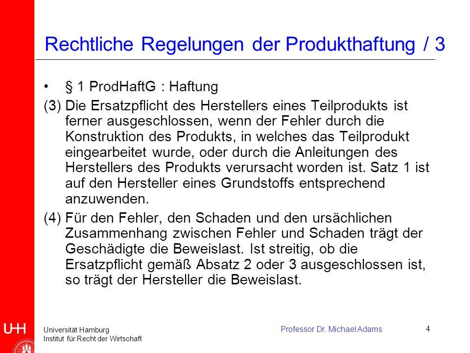 Rechtliche Regelungen der Produkthaftung / 3