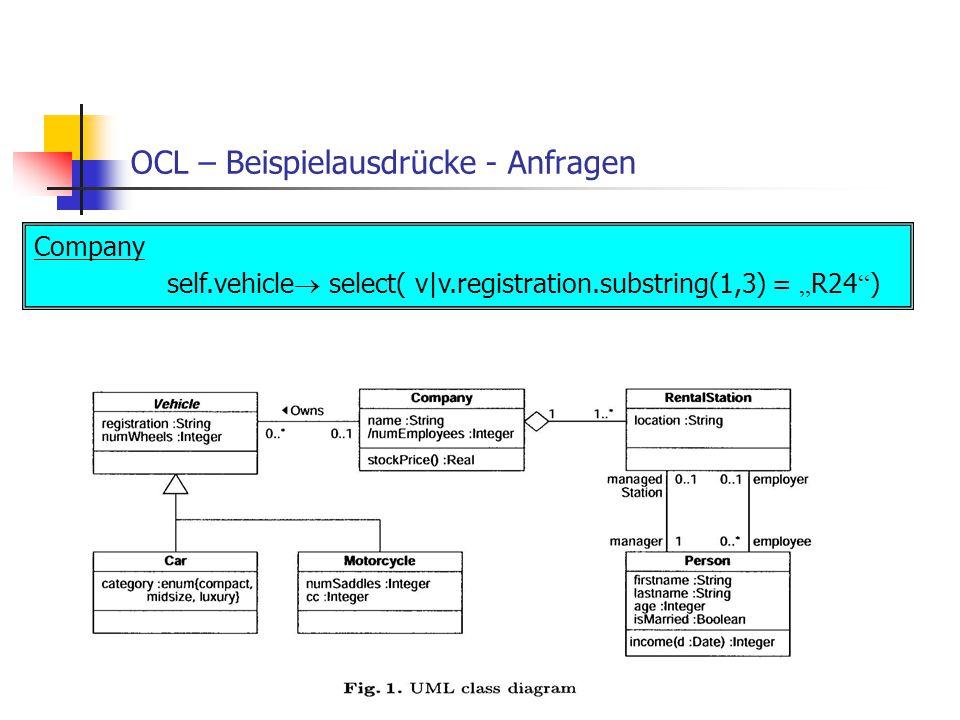 OCL – Beispielausdrücke - Anfragen