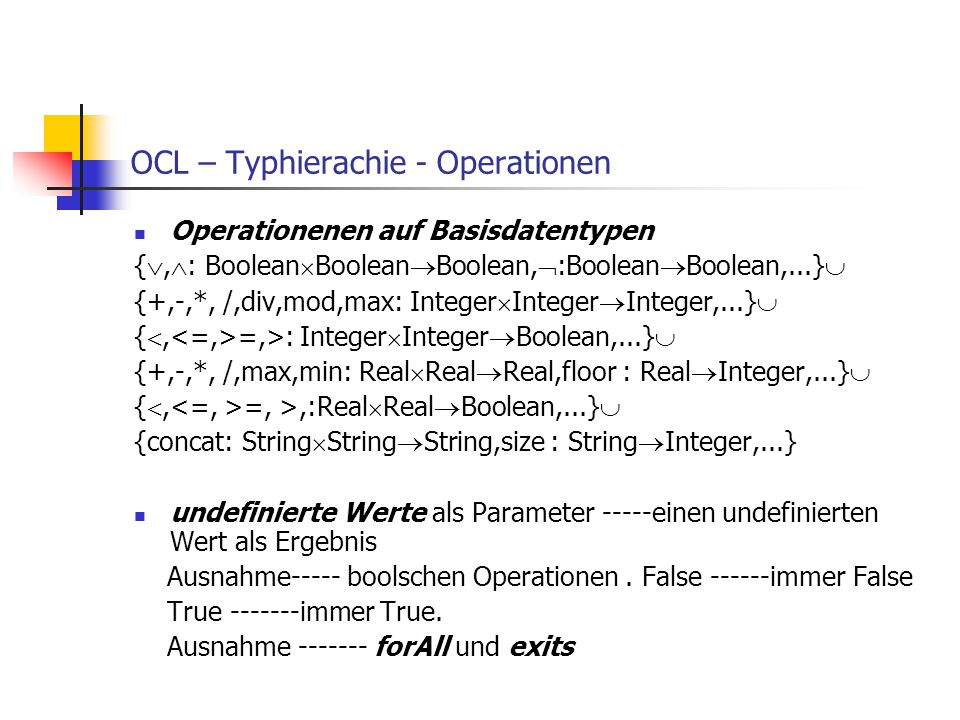 OCL – Typhierachie - Operationen