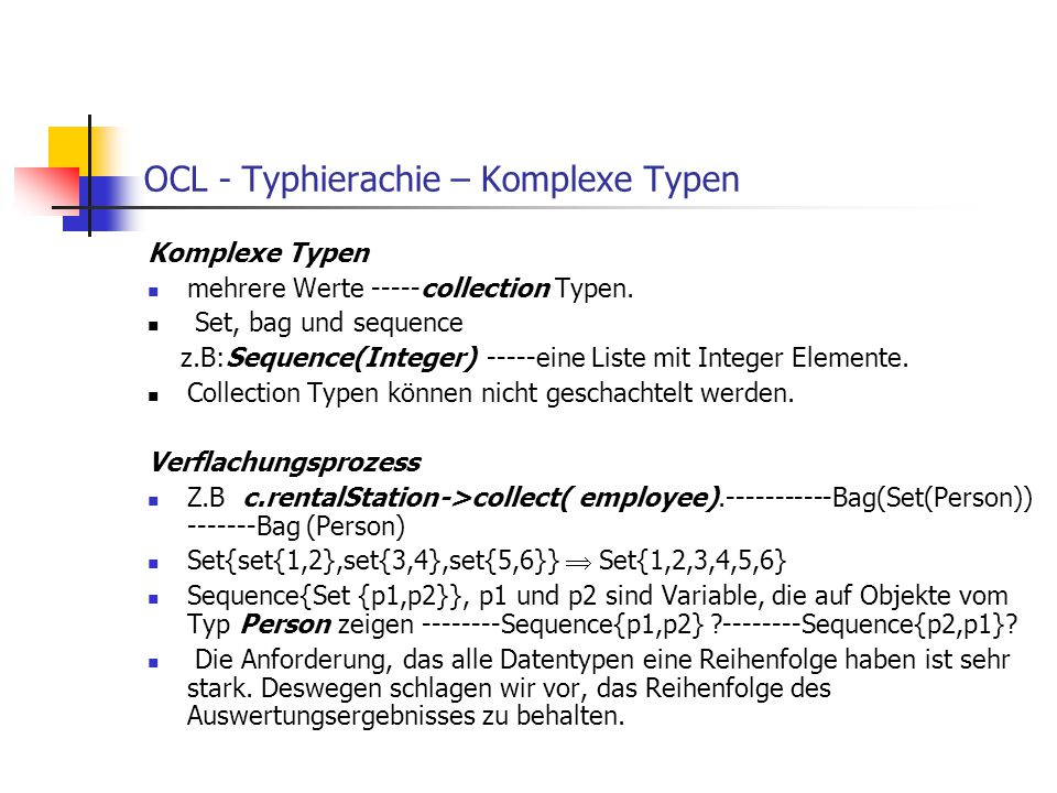 OCL - Typhierachie – Komplexe Typen