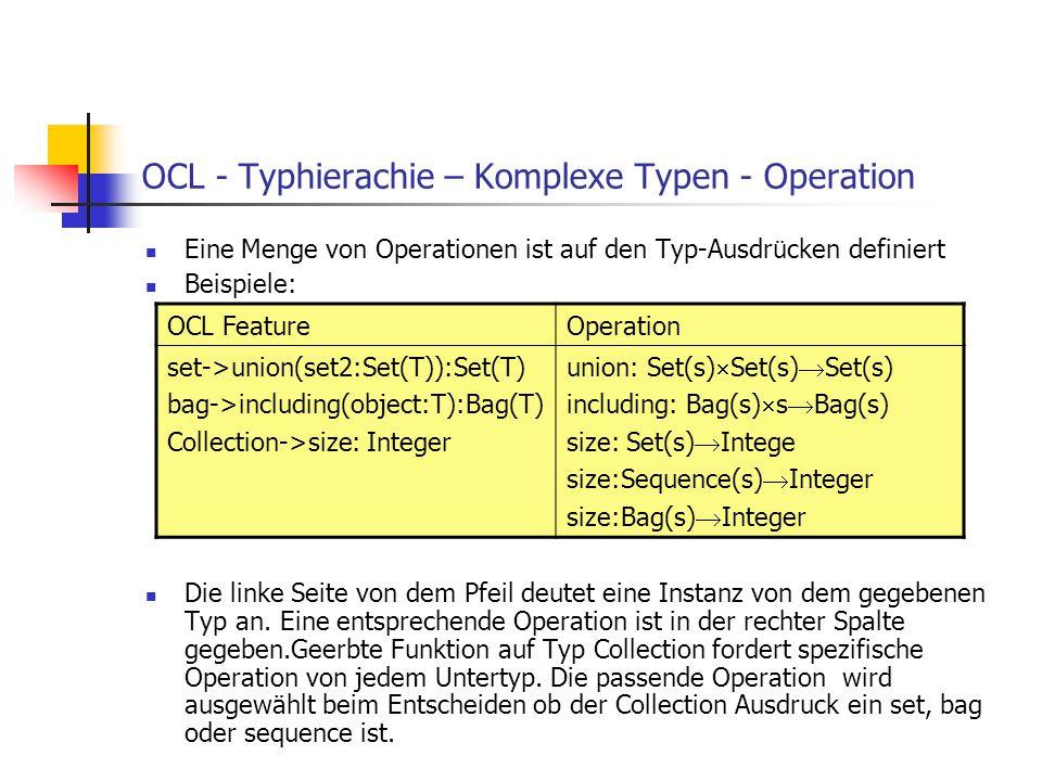 OCL - Typhierachie – Komplexe Typen - Operation