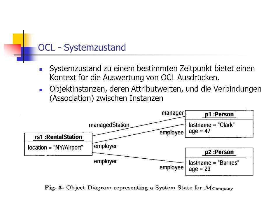 OCL - Systemzustand Systemzustand zu einem bestimmten Zeitpunkt bietet einen Kontext für die Auswertung von OCL Ausdrücken.