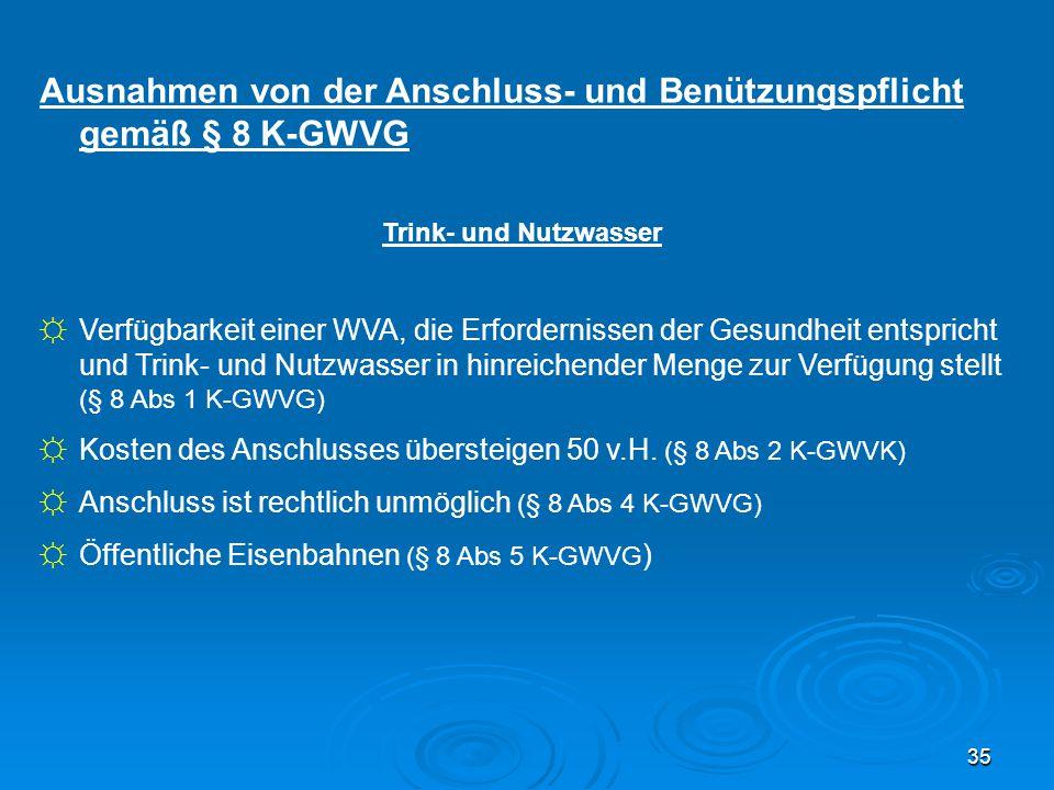 Ausnahmen von der Anschluss- und Benützungspflicht gemäß § 8 K-GWVG