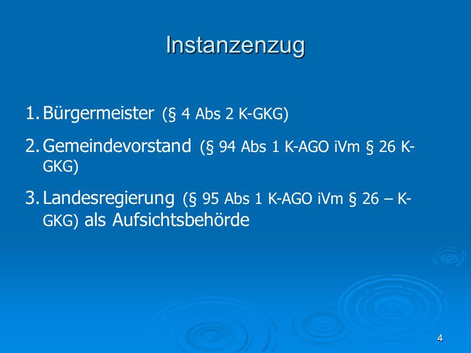 Instanzenzug Bürgermeister (§ 4 Abs 2 K-GKG)